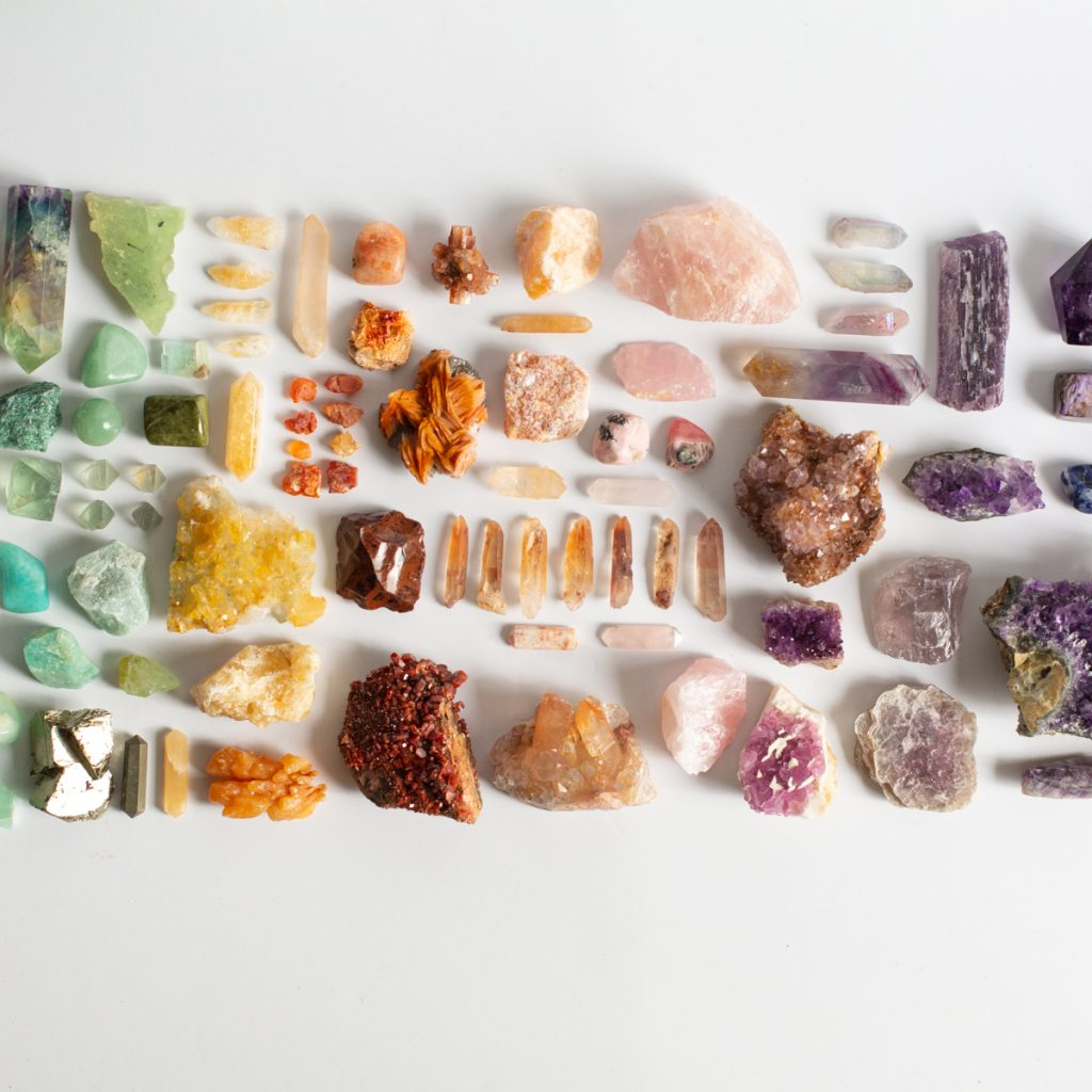 assortment of stones and crystals for grounding