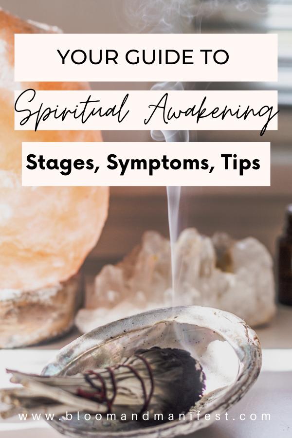 spiritual awakening shows sage bundle burning and a salt lamp