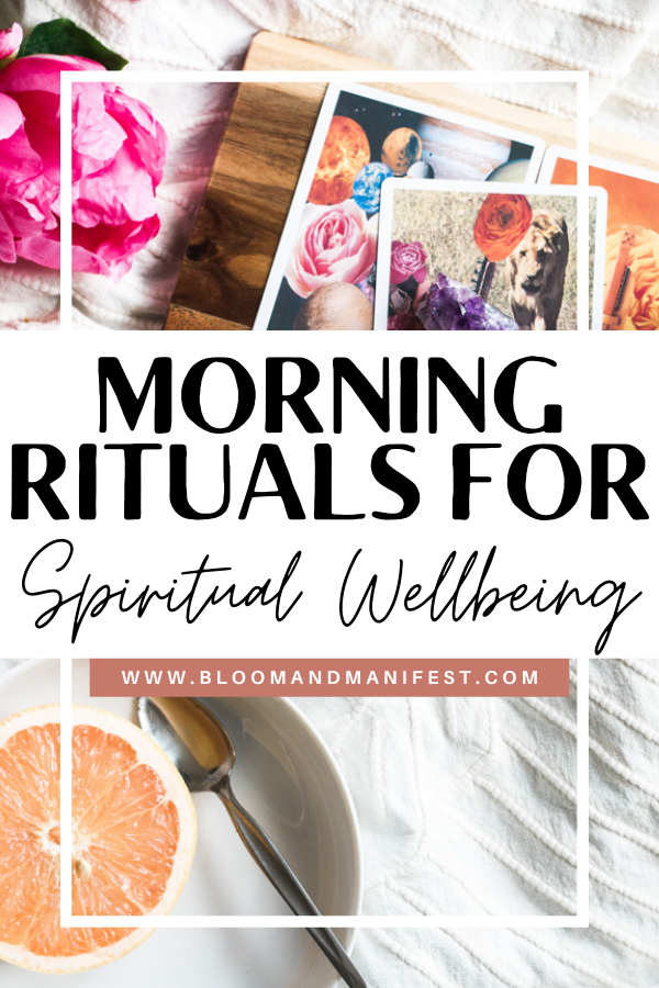 pin with tarot cards, crystals, and an orange on a blanket. text overlay reads morning rituals for spiritual wellbeing