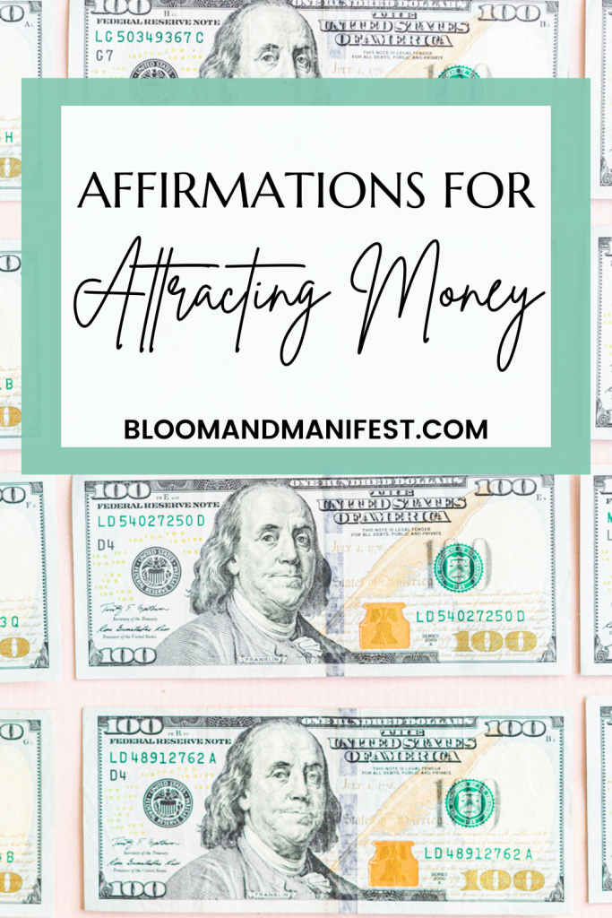 affirmations for money with picture background of 100 bills